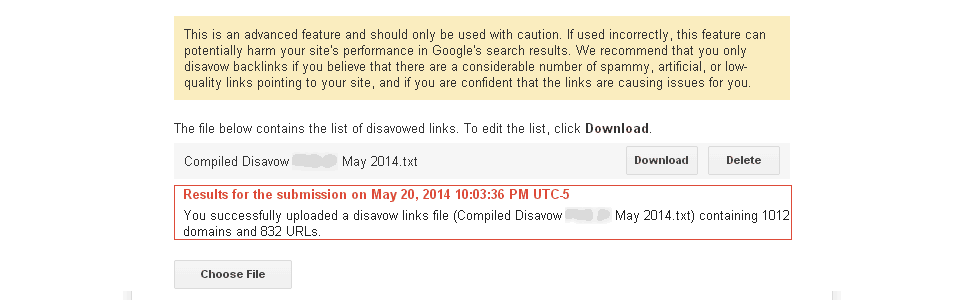 backlink disavow file submission in Google Search Console